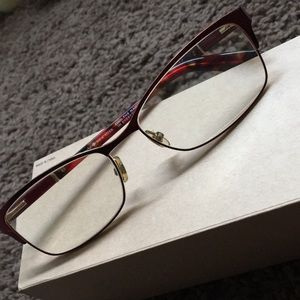 kate spade Accessories - Kate Spade Red and Gold Eyeglasses
